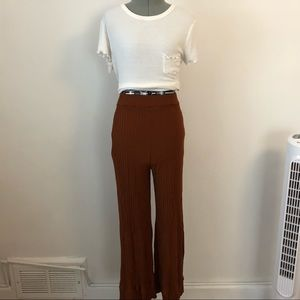 All in Favor Ribbed Crop Wide Leg Pants